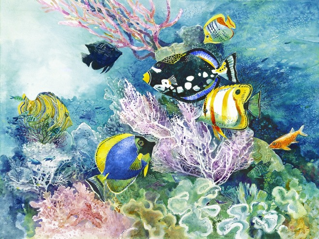 coral reef fishes watercolor painting Margy Gates