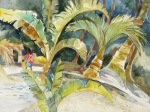 tropical island watercolor painting Margy Gates