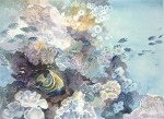 Coral reef underwater watercolor painting Margy Gates