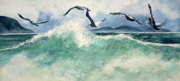 Sea wave pelican birds watercolor painting Margy Gates