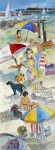 Beach people on sand watercolor painting Margy Gates