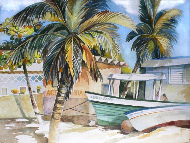 Isla Mujeres Yucatan beach watercolor painting Margy Gates