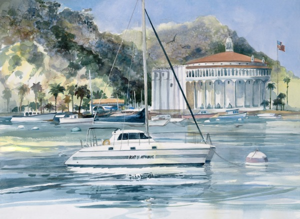 Catalina Avalon boat watercolor painting Margy Gates