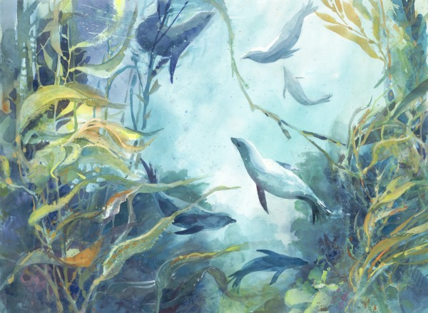 Kelp forest Santa Cruz Channel Islands watercolor painting Margy Gates