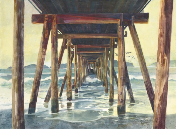Ocean pier waves island watercolor painting Margy Gates