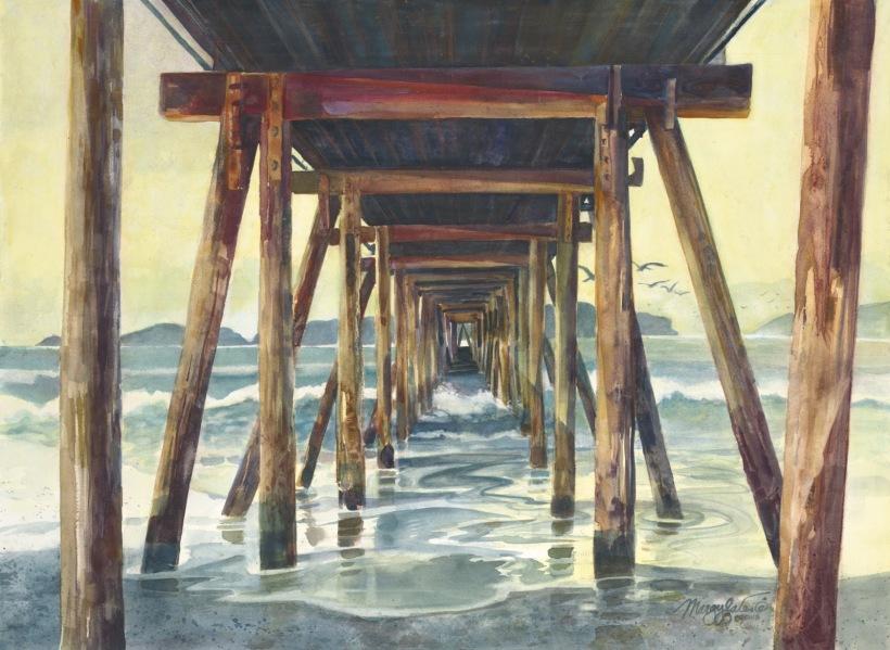Ocean pier waves island watercolor painting Margy Gates