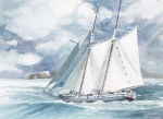 Sailboat Channel Islands Anacapa watercolor painting Margy Gates