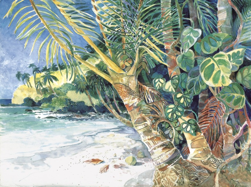 Kubulau Beach tropical island painting Margy Gates