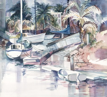 Island boats seashore watercolor painting Margy Gates