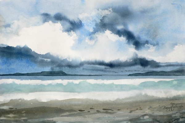 Island coast watercolor painting Margy Gates
