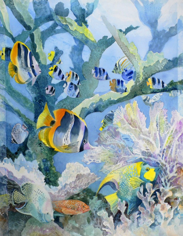 Reef fish watercolor painting Margy Gates