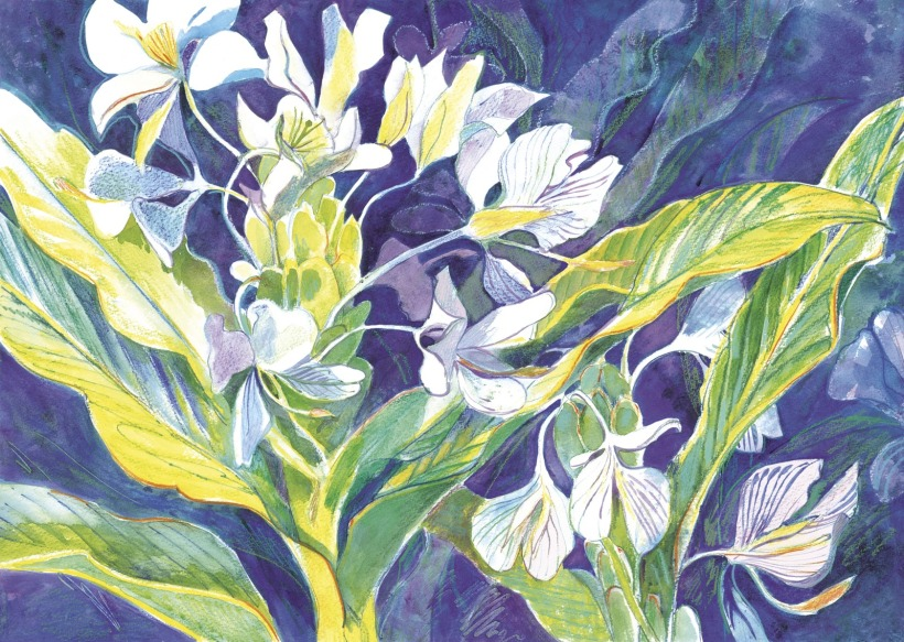 Blossoms flowers watercolor painting Margy Gates
