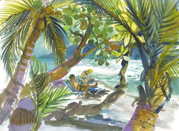 Costa Rica beach coast watercolor painting Margy Gates