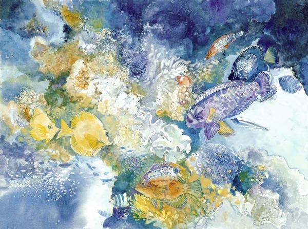 Fiji Reef underwater watercolor painting