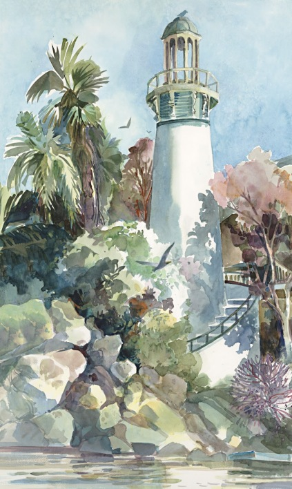 Lighthouse watercolor painting Margy Gates