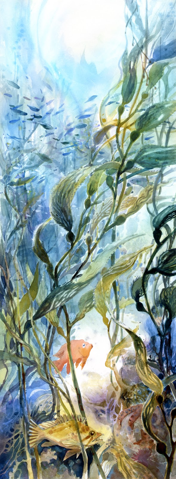 California kelp garden watercolor painting Margy Gates