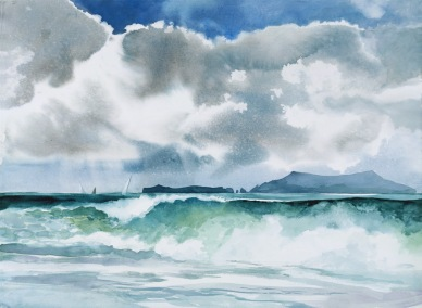 Sea Coast watercolor painting Margy Gates