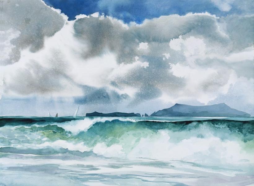Sea Coast watercolor painting Margy Gates