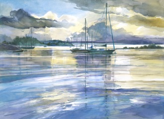 Boat Savusavu sunset watercolor painting Margy Gates