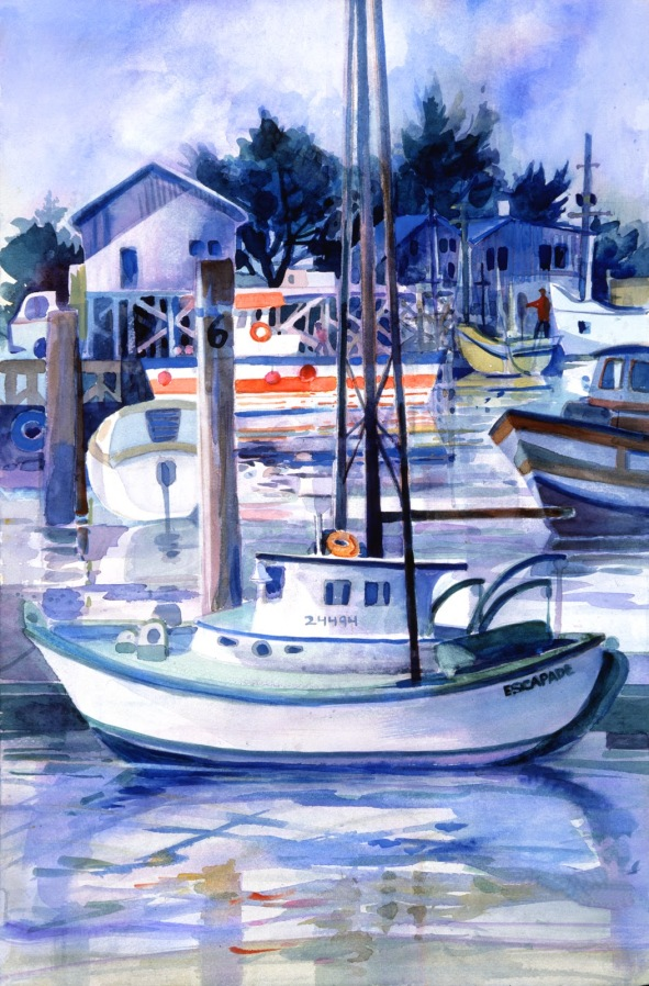 Monterey Bay boat watercolor painting Margy Gates