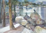 Channel Islands Harbor boats watercolor painting Margy Gates
