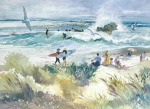 Surf Leo Carrillo Beach watercolor painting Margy Gates