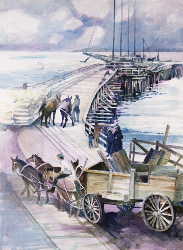 California Port Hueneme pier watercolor painting Margy Gates