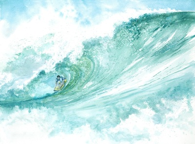 Surfer wave watercolor painting Margy Gates