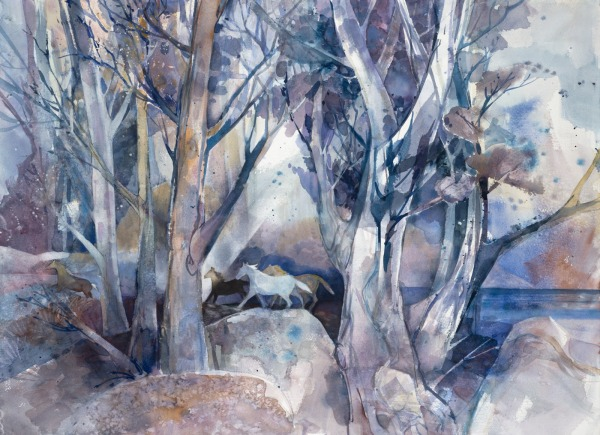 White Mountain island horses watercolor painting Margy Gates