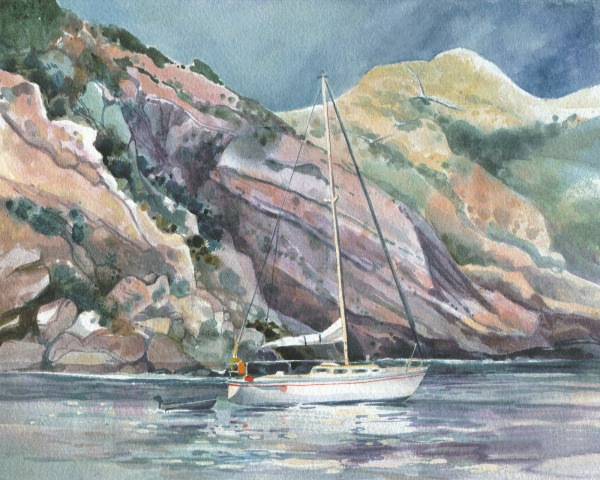Santa Cruz Channel Islands boat watercolor painting Margy Gates